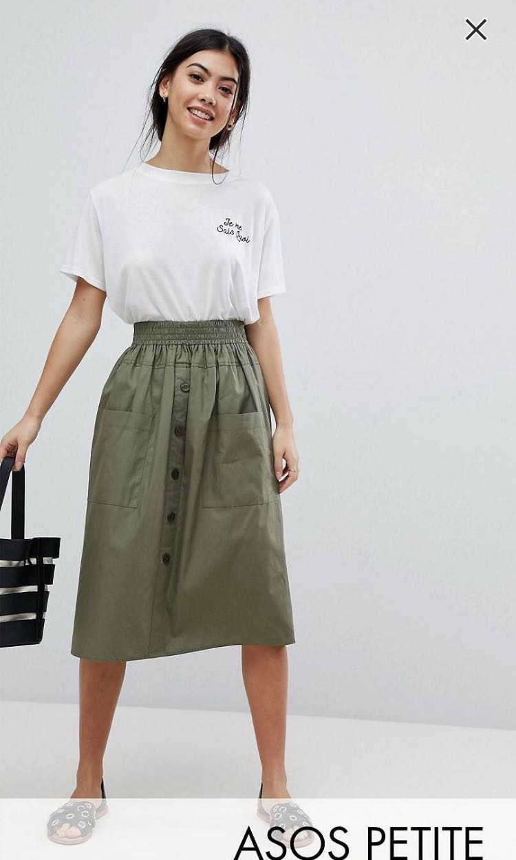 d7fa86c3366 ASOS DESIGN Petite Cotton Midi Skirt with Button Front