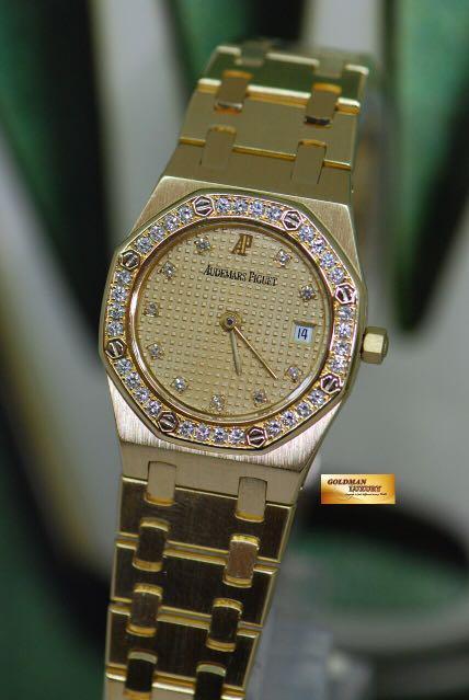 e2a7b9daa77 AUDEMARS PIGUET ROYAL OAK 18K YELLOW GOLD DIAMOND DIAL   BEZEL 24mm ...