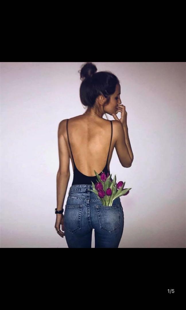 Backless Black Body Suit