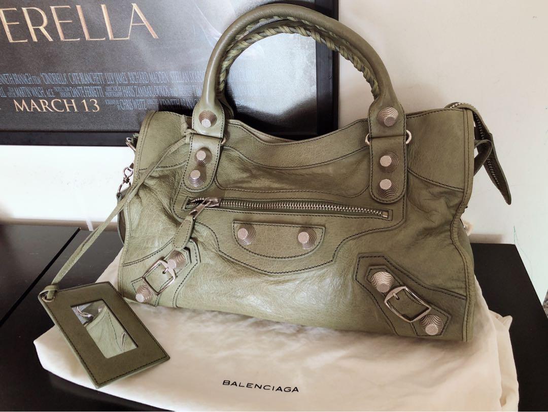 6f46bc4618c Balenciaga G21 Silver Hardware in Green City bag, Luxury, Bags ...