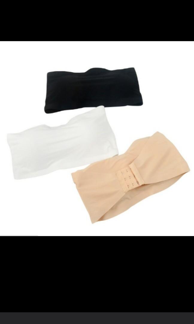 24ea29d9ca Black Seamless strapless tube bra with insert padding bralette ...