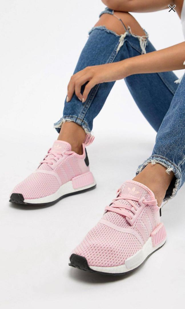 official photos cae37 e53f2 BNIB ADIDAS NMD R1 BLACK AND PINK, Women's Fashion, Shoes ...