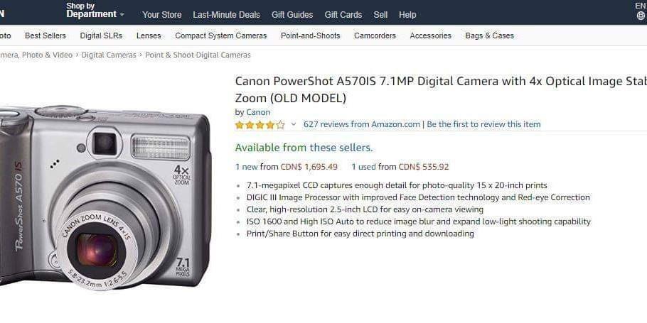 Camera - Canon Powershot A570 IS **Price is negotiable**
