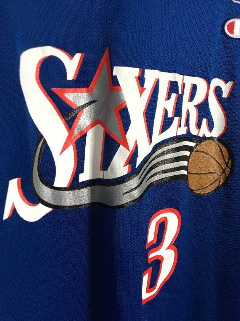 super popular 215eb 452a7 Champion Basketball NBA Sixers Allen Iverson jersey size 48 ...