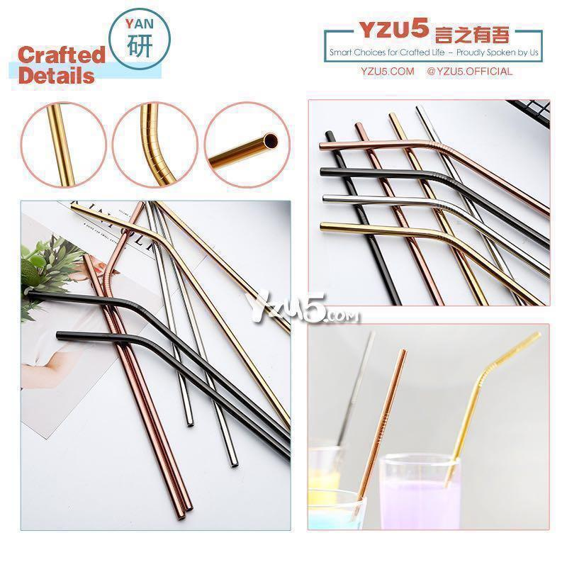 Food Grade Stainless Steel Metal Eco Friendly Reusable Straw Rose Gold Silver Durable Straws 304 FDA APPROVED FREE Brush