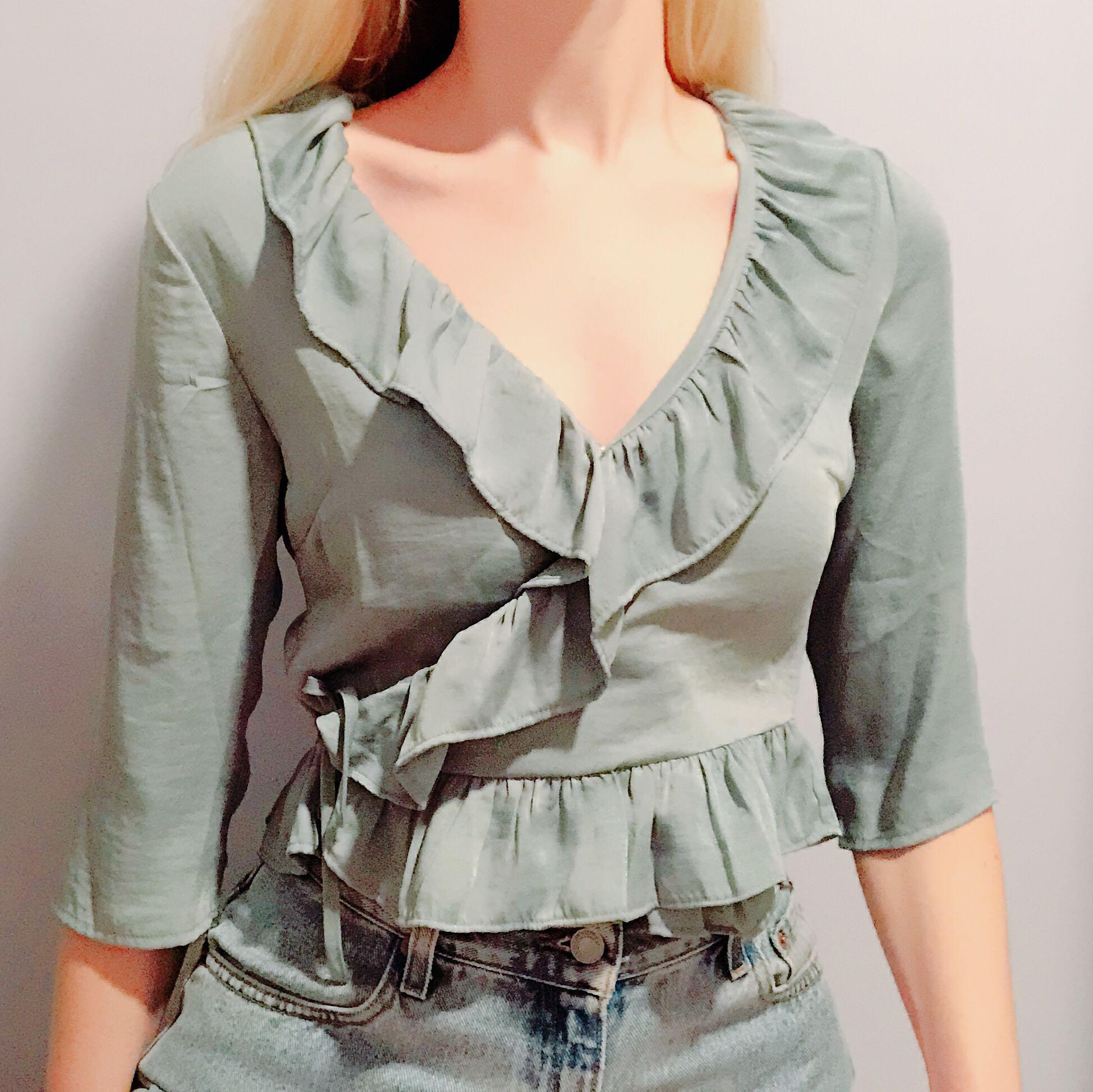 Frill tie side silky teal top