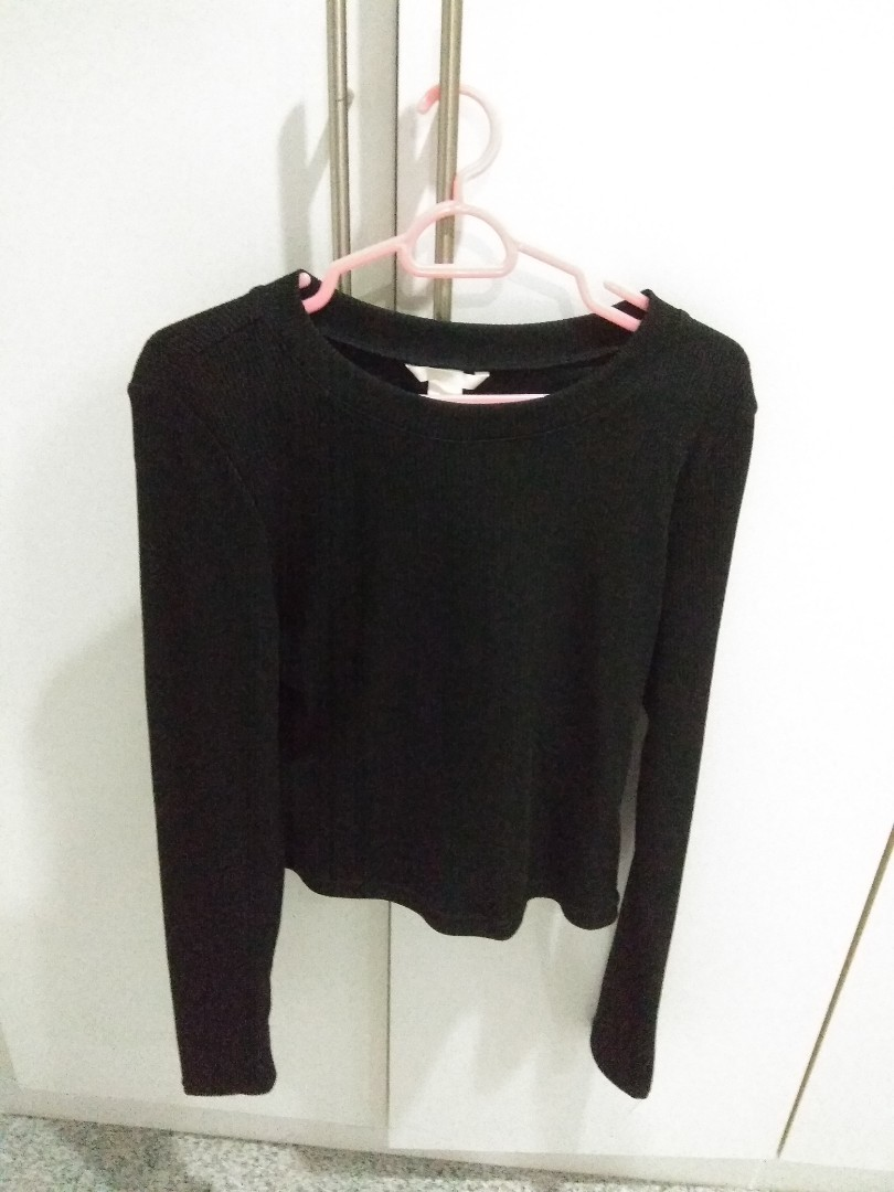 6ba040df H&M Black Long sleeved Top, Women's Fashion, Clothes, Tops on Carousell