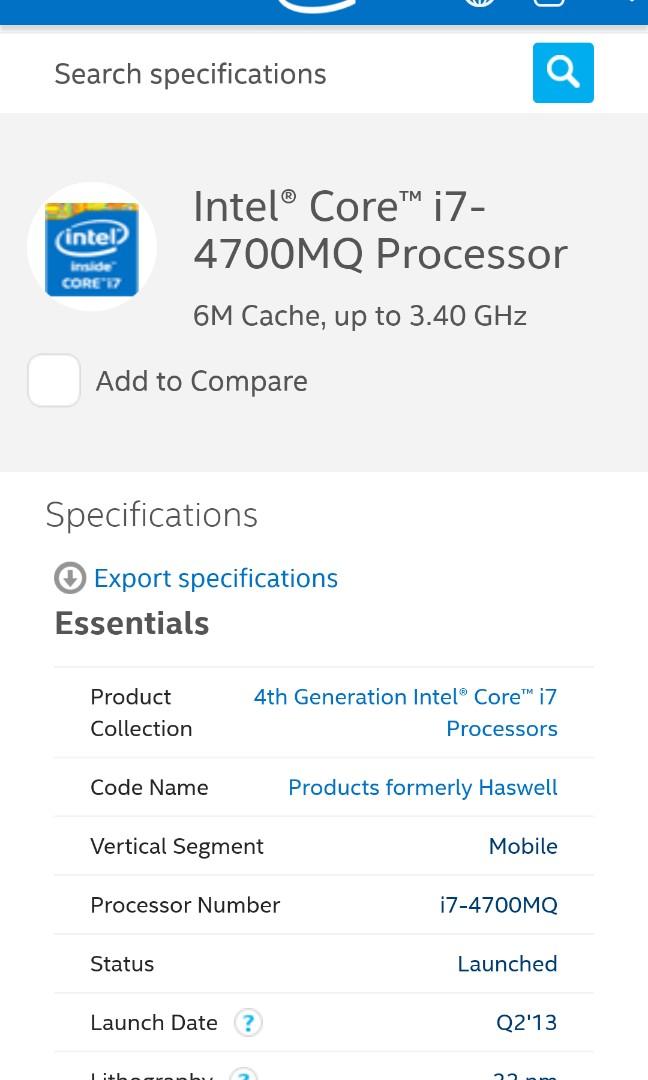 Intel i7 4700mq laptop cpu