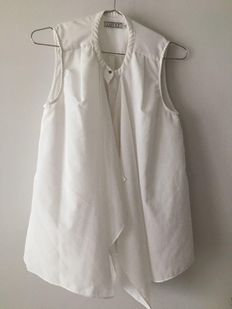 317736f5340c28 Love Bonito Covet sleeveless Ruffled Crepe Top in White