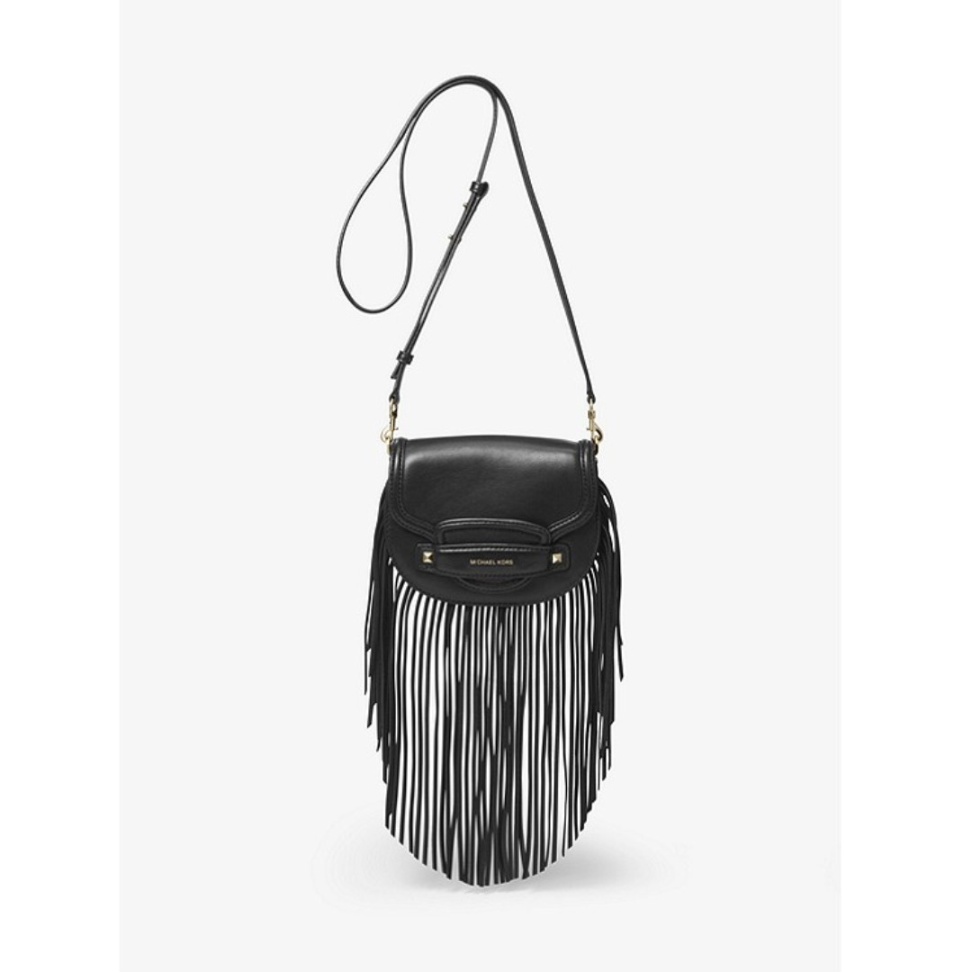 8ac12ee88ad0 Michael Kors Cary Small Fringed Leather Saddle Bag