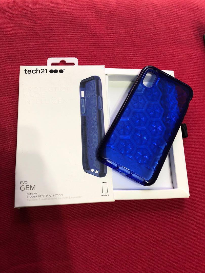 brand new d43a6 846b9 Tech 21 evo gem case (blue) for iPhone X
