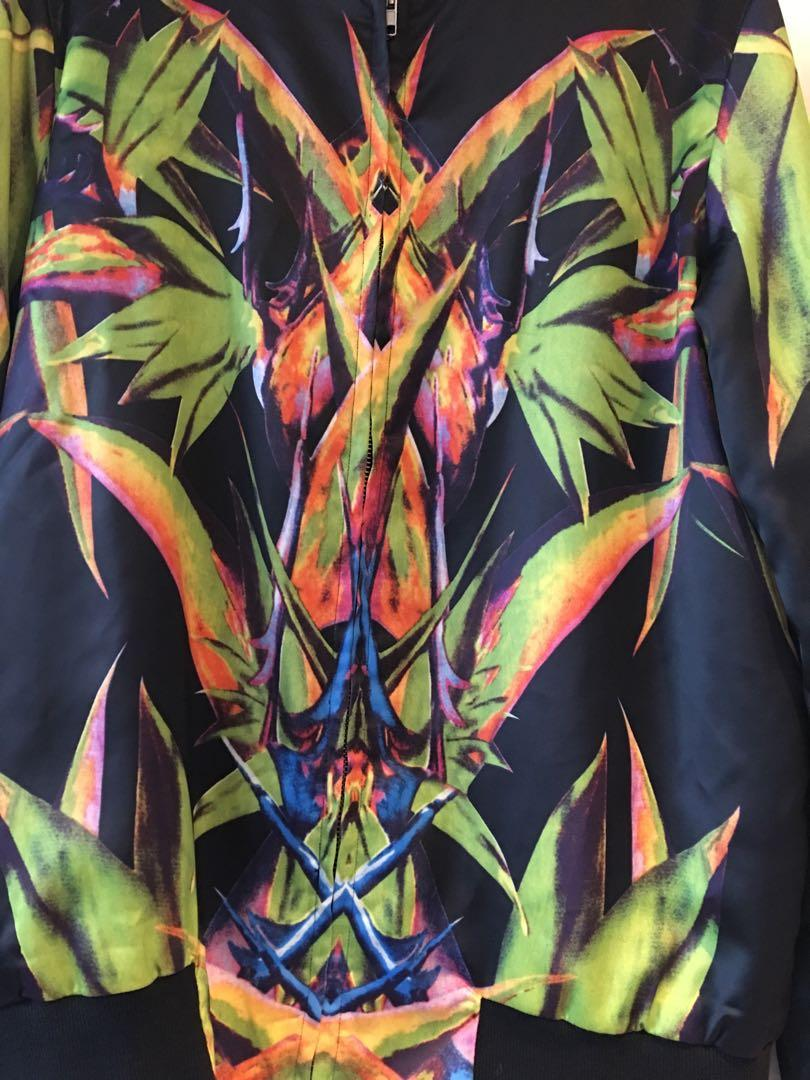 Tropical print Satin bomber jacket