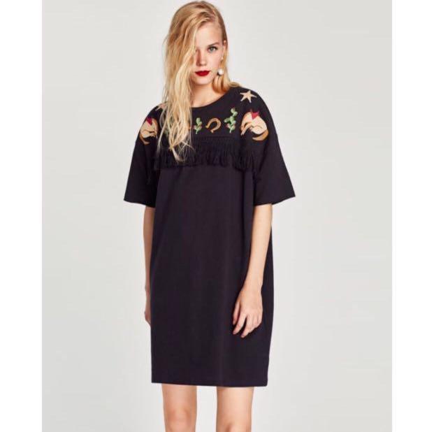 baea3cb97f3 ZARA rubberized details with fringe tassel T-shirt Dress