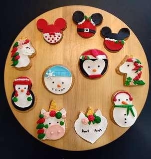 Christmas Snowman, Penguin, Mickey mouse, Minnie mouse, Santa Claus cookies