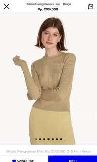 Pomelo Long sleeve ribbed beige