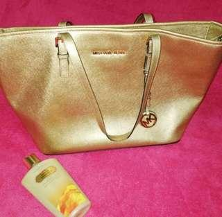 Michael Kors Jetset Tote Bag Metallic Gold