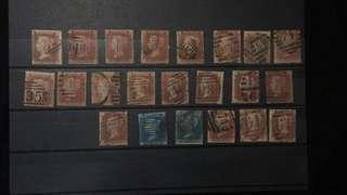 郵票信銷紅便士二十張,藍便士兩張