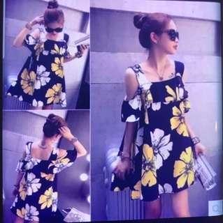 Korean Off Shoulder Floral Dress