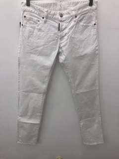 全新真品 DSQUARED 2 金屬標 白色 牛仔褲 46 刷卡分期零利率