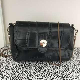 shoulder bag in black vegan croc leather with gold strap rrp $40