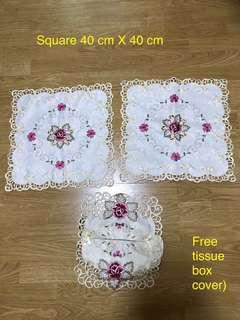 Embroidery Table cloth for coffee table ( 2 pcs)