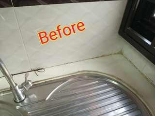 SILICONE AROUND SINK FOR NO MORE LEAKS!!!