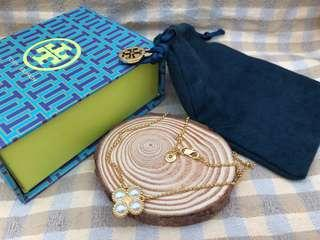 Tory Burch Rope Pearl Clover Pendant Necklce