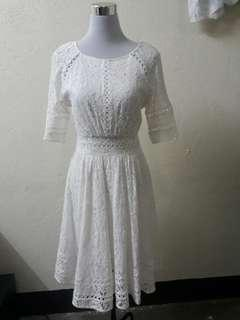 White Lace Dress Self portrait inspired