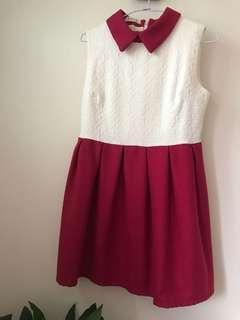 聖誕立領紅白洋裝