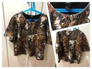(Used)H&M Lion all over print top 印花上衣