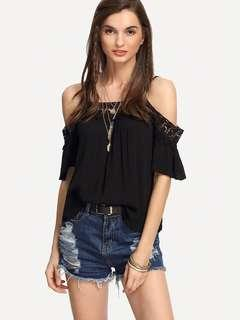 black trim lace cold shoulder top