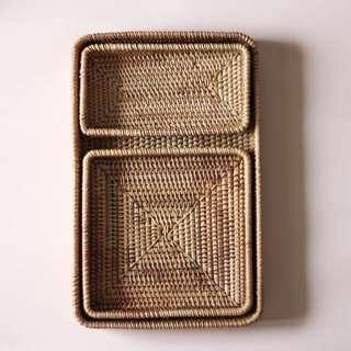 Rattan Basket Tray Set