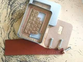 Copper Alphabet tool for leather/PVC