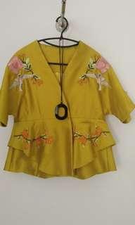 Kimono Bordir Kuning Lemon