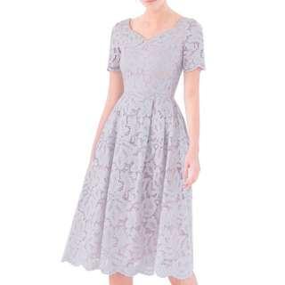 Doublewoot Flare Midi Lace Dress (Light Gray)