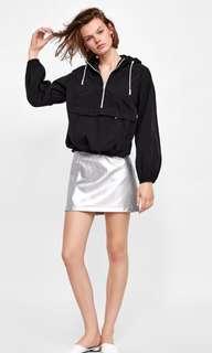 Zara 銀色 皮裙 短裙 金屬