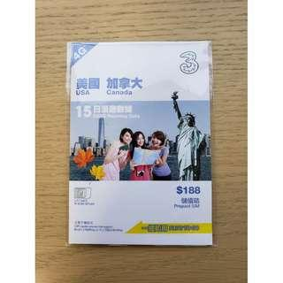 3HK「美加」漫遊數據儲值咭 / USA & Canada Roaming Data Prepaid SIM (Exp. 31-12-2019)