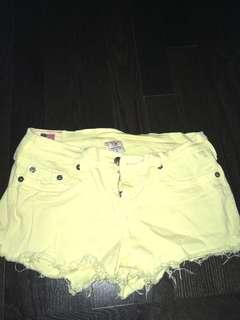 Yellow True religion jean shorts