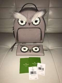 Brand New Authentic Kate Spade Owl Backpack & Wallet