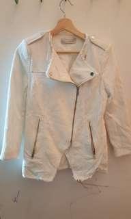 Zara white denim biker jacket size small