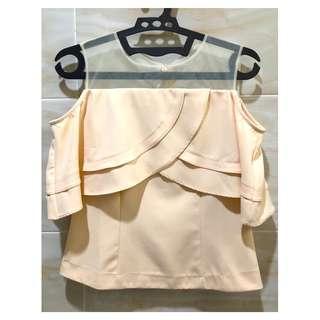 Cream Off Shoulder Sabrina Shirt Krim Nude Beige