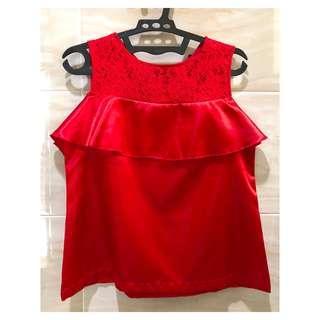Red Brukat Baju Merah Floral