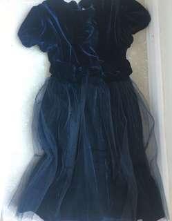 深藍色絲絨紗裙