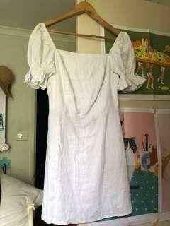 White linen style dress
