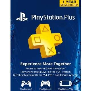 US PLAYSTATION PLUS 1 YEAR MEMBERSHIP