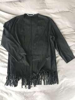 Zara Basic Black Open Jacket with Fringe Detail