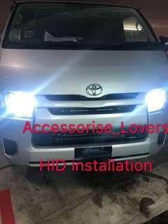 Hid Hid installation on Toyota Hiace and led pole light installation     Suitable for Nissan Toyota Vios Altis Camry Volkswagen scirocco Jetta Golf Passat Mercedes c200 c180 Honda Civic Crossroad mazda 3