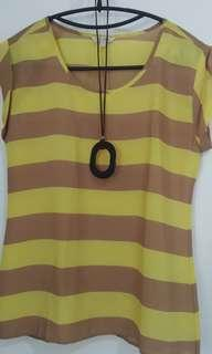 Et cetera stripe yellow brown