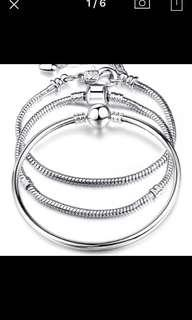 Preorder High Quality 17-21cm Silver Snake Chain European Charm Bracelet