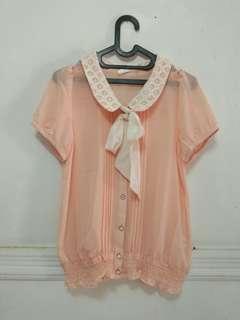Peach Blouse Ribbon